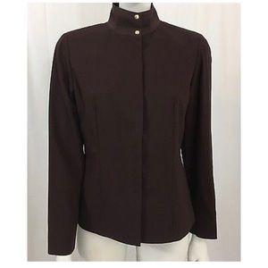 Worth Brown Wool Mandarin Collar Jacket Blazer